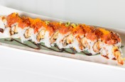 Heaven Roll($14.50) - Shrimp tempura, unagi topped w/ spicy tuna, tobiko, eel sauce