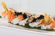Golden Gate($13.50) - soft shell crab, spicy crab meat, cucumber topped w/ salmon, eel, tobiko, eel sauce