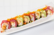 Red Dragon($15.50) - Shrimp tempura, cucumber topped w/tuna, avocado, tobiko, eel sauce