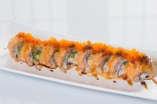Lion King($13.75) - California topped w/baked salmon, tobiko, eel sauce