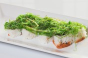 Tropic Thunder($11.75) - Spicy tuna, cucumber topped w/seaweed salad