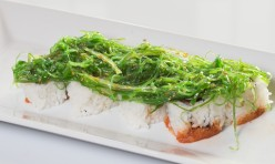 Tropic Thunder($12.75) - Spicy tuna, cucumber topped w/seaweed salad
