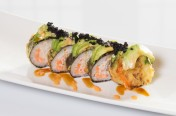 The Rock($11.75) - Salmon, crab meat deep fried topped w/ avocado, tobiko, eel & spicy mayo sauce