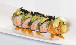 The Rock($12.75) - Salmon, crab meat deep fried topped w/ avocado, tobiko, eel & spicy mayo sauce