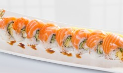Gold Dragon($14.95) - Shrimp  tempura, cucumber w/salmon, sliced lemon, eel sauce