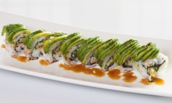 Caterpillar($13.50) - Unagi, cucumber topped w/avocado, eel sauce