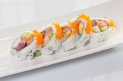 Crazy Horse($11.95) - tuna, salmon, yellow tail, avocado topped w/tobiko