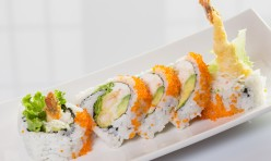 Sharks($12.50) - Shrimp tempura, crab meat, cream cheese, avocado, lettuce topped w/tobiko