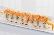 Dancing Ebi($12.75) - Shrimp tempura, cream cheese, cucumber topped w/spicy crab meat, eel sauce