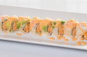 Oh Yes($12.75) - Spicy crab meat, cucumber topped w/ebi, avocado, spicy mayo sauce