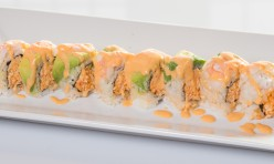 Oh Yes($13.75) - Spicy crab meat, cucumber topped w/ebi, avocado, spicy mayo sauce