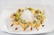 TNT($13.75) - Spicy tuna, eel, cream cheese, cucumber deep fried topped w /jalapeno, house sauce