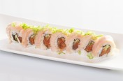 Tuna Lover($13.75) - Spicy tuna, cucumber topped w/white tuna, ponzu sauce