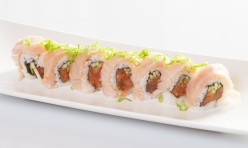 Tuna Lover($14.50) - Spicy tuna, cucumber topped w/white tuna, ponzu sauce