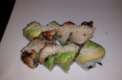 85($13.50) - yellow tail, cucumber, jalapeno topped w/ unagi, avocado, yellow tail, rice cracker, unagi sauce