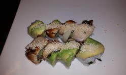 85($14.25) - yellow tail, cucumber, jalapeno topped w/ unagi, avocado, yellow tail, rice cracker, unagi sauce