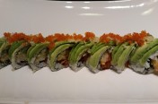 Dancing Caterpillar($16.75) - Spicy tuna, unagi, cucumber, shrimp tempura, topped w/ avocado, tobiko, tempura flake, unagi sauce (huge)