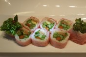 Vege Lover($13.95) - Cucumber, wild carrot, avocado, inari, lettuce, asparagus, kaiware wrapped w/soy bean paper
