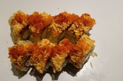 Crab Lover($12.75) - deep fried California roll w/spicy crab meat, tobiko, unagi sauce