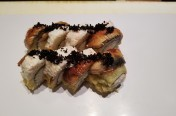 Super CA($13.95) - deep fried California roll w/unagi, crab meat, black tobiko, unagi sauce