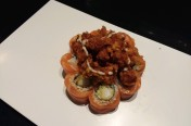 Super Ball($15.95) - Shrimp tempura, cucumber topped w/salmon, deep fried scallop, unagi & wasabi mayo sauce